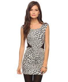 Mesh Inset Cheetah Dress (Ivory/Black). Forever 21. $17.80