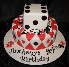 Casino cake : two tier fondant covered cake to celebrate a milestone birthd Casino Party Foods, Casino Theme Parties, 50th Birthday, Birthday Parties, Cake Birthday, Birthday Ideas, Casino Royale Theme, Casino Cakes, Cake Cover