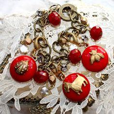 G.Hecht Vintage Red Buttons Bronzed Bracelet