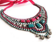 Art Deco Rhinestone Statement Necklace from OOAK Jewelery
