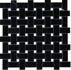 """$10.95SF Nero Marquina 1x2"""" Basketweave Polished Mosaic Tile.  Beautiful marble Mosaic tile cut to create a basketweave effect in Black Marble."""