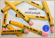 """Positive Pencils"" - Edible pencils created from Pretzel Sticks for Back to School Fun!"