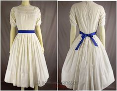50s White Cotton Nip Waist Full Skirt Day Dress  by BeeDeeVintage, $50.00 http://etsy.me/1ctYgaW