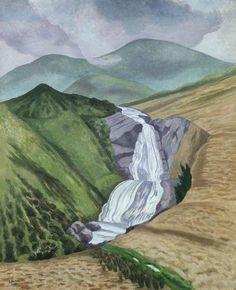 John Nash - Skye - 1974 - Oil on canvas - The Ashmolean Museum, Oxford. Watercolor Landscape, Landscape Art, Landscape Paintings, Watercolour, John Nash, Uk Landscapes, Modern Landscape Design, Collage, Art Uk
