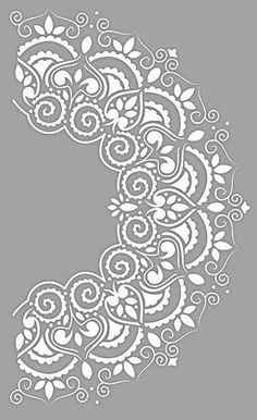 Stencils for round surfaces – Buntstück Hamburg Stencil Templates, Stencil Patterns, Stencil Designs, Mandala Stencils, Stencil Painting, Lace Stencil, Mandala Drawing, Mandala Art, Hand Embroidery Designs