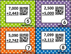 Addition/Subtraction Multi-digit Practice Task Cards with QR Codes (and without) Addition And Subtraction Practice, Math Addition, Math Resources, Math Activities, Fun Math, Maths, Fourth Grade Math, Differentiated Instruction, Early Finishers