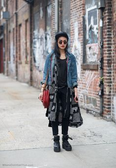 rock. star. #NadiaSarwar in NYC. #FrouFrouu Street style with long jacket, denim, awesome sunglasses and a red bag. http://believeinmystyle.weebly.com/fashion.html