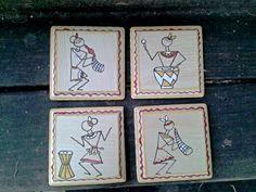 Wooden Square Coasters Handpainted Warli Design Set by Muktangan, $35.99
