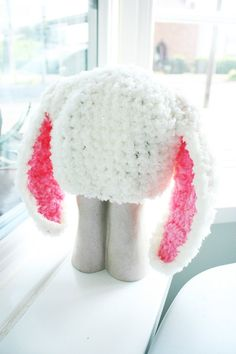 12 to 24m Baby Hat Crochet Bunny Hat Baby Beanie, Easter Photo Prop Cream Pink Bunny Ears Hat, Toddler Bunny Rabbit Beanie