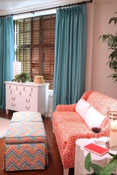 House of Turquiose - Tons of rooms all done in Blues. Bedroom Colors - Turquoise and Orange Bedroom