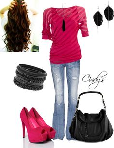 """""""Fushia Top and Jeans"""" by cindycook10 on Polyvore"""