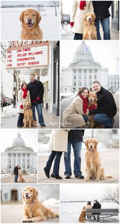 Outdoor winter photographs | Couple with dog photographs | Photographer Madison WI
