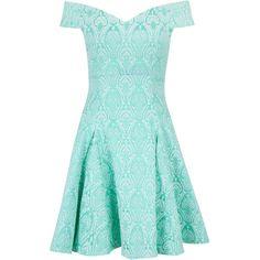 Closet Jacquard Bardot Skater Dress ($85) ❤ liked on Polyvore featuring dresses, vestidos, short dresses, mint, women, skater skirt, mini dress, fit & flare dress and blue fit and flare dress