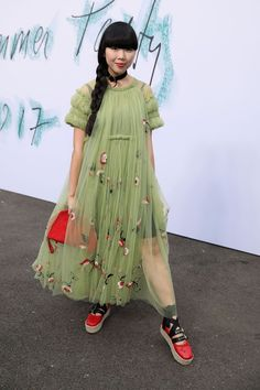 Susie Bubble wearing a Molly Goddard dress at the Serpentine Summer Party 2017
