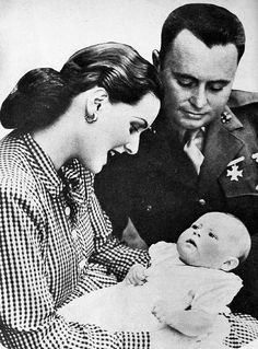 Maureen O'Hara with her husband, director Will Price, and baby daughter Bronwyn in 1944