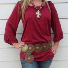 The Texas Cowgirl - Deep Red Three Quarter Sleeve Tunic, $24.99 (http://www.thetexascowgirl.com/deep-red-three-quarter-sleeve-tunic/)
