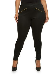 Plus Size Stretch Leggings with Faux Zipper Pockets,BLACK
