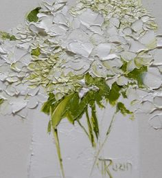 AbstractFloral PaintingWhite Hydrangea in VaseOriginal Art image 1 Hydrangea Painting, Hydrangea Vase, Modern Art Paintings, Small Paintings, Flower Paintings, Art Original, Palette Knife, Abstract Flowers, Oeuvre D'art