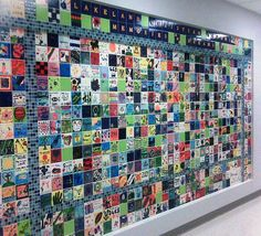 Tile Wall for new LCS Elementary/Middle School Building fundraiser - Modernes Tile Murals, Tile Art, Wall Tiles, Middle School Art, Art School, School Ideas, Donor Wall, Collaborative Art Projects, School Auction