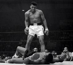 Mohammed Ali flooring Sonny Liston 1965... He changed the world in boxing as much as the Beatles change the world in music!!