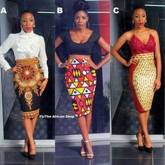 Pencil skirts in African fabric Your choice in fabric displayed Knee length or calf length zipper in the back Custom made to your measurements Contact shop owner for sizes not shown. African Inspired Fashion, African Print Fashion, Africa Fashion, Ethnic Fashion, Fashion Prints, Look Fashion, African Prints, African Attire, African Wear