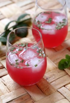 Watermelon Agua Fresca: So refresing and simply made with fruit, sugar,lime juice, sparkling water and garnished with mint and lime slices