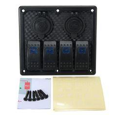12 V 24 V 4 Gang LED Rocker Switch Panel de Interruptores de Circuito Cargador Para El Barco Marina Auto ATV Impermeable Bure luz