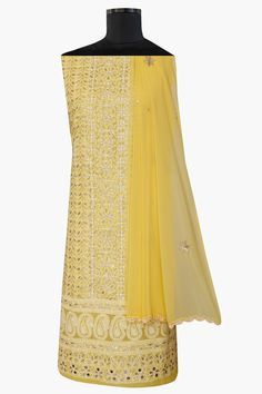 #Ada #handembroidered #Yellow #Cotton #Lucknowi #Chikan #Unstitched Suit Piece–A567781 offers a comfortable and relaxed silhouette to the wearer, the fabric and embroidery is skin friendly  #Ada #chikankari #handcrafted #shoponline