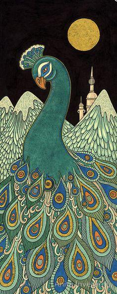 Peacock illustration by A. Inverarity #Art #AnimalArt #Peacock