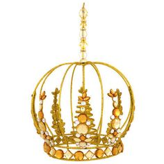 Gold Crown With Jewels Tree Topper
