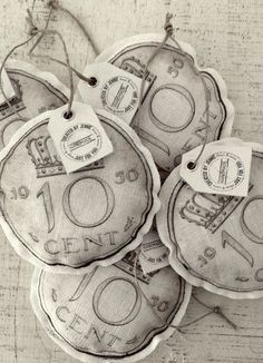 Inspiration: linnen Duppie - Dutch money before the Euro from Created by Jennie. Diameter 10cm.