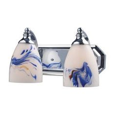 Elk Lighting Bath And Spa 2 Light Vanity in Polished Chrome And Mountain Glass
