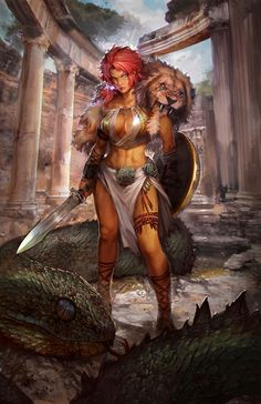Greek warrior by PabloFernandezArtwrk Myriad of Dragons female barbarian fighter gladiator warrior sword shield lion pelt greece armor clothes clothing fashion player character npc | Create your own roleplaying game material w/ RPG Bard: www.rpgbard.com | Writing inspiration for Dungeons and Dragons DND D&D Pathfinder PFRPG Warhammer 40k Star Wars Shadowrun Call of Cthulhu Lord of the Rings LoTR + d20 fantasy science fiction scifi horror design | Not Trusty Sword art: click artwork for…