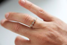 White Sapphire 3 Stone Ring in Recycled 14k by erinjanedesigns, $366.00