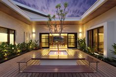An open to sky courtyard is the focal point of this home