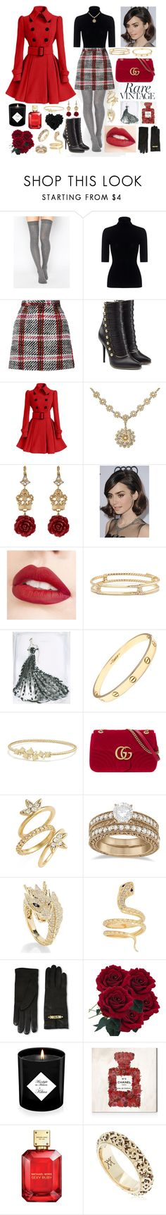 """""""Winter with a Sprinkle of Vintage"""" by megan-maddalena ❤ liked on Polyvore featuring ASOS, Theory, Carven, Balmain, Dolce&Gabbana, COS, Jouer, David Yurman, Cartier and Gucci"""