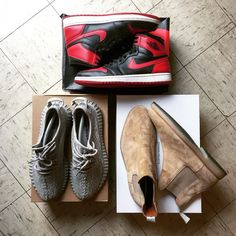 """Air Jordan 1 """"Bred"""" Yeezy Boost350 """"Moonrock"""" Common Projects Chelsea Boots"""
