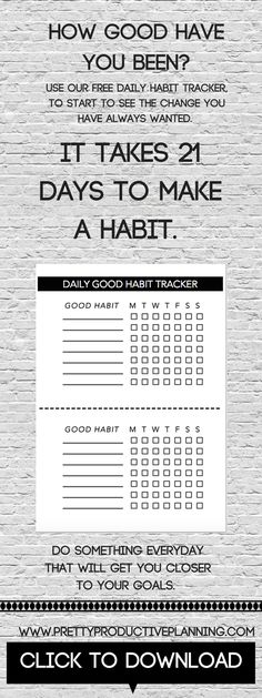 Did you know that it takes 21 days to form a new habit? Stick to our free downloadable and printable daily habit tracker for 3 weeks, to start to see the changes you have always wanted. Fitness goals, healthy eating,daily reading the time is now. Download your free planner insert when you sign up to our mailing list! www.prettyproductiveplanning.com