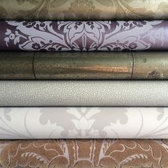 A selection of mauve, purple and metallics from our Mariinsky Damask collection paired with our Landscape Plains collection looks stunning #mariinskydamask #purple #flock #metallic #wallpaper #tapet #damask