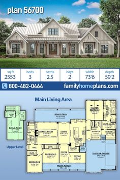 New Farmhouse Home Plan with Modern Amenities – Sq Ft Living Space and 3 Bedrooms NEW modern farmhouse style house plan with an open floor plan through kitchen, dining and great room. Decorative beams and brick features adorn… Continue Reading → Family House Plans, New House Plans, Dream House Plans, Dream Houses, Four Bedroom House Plans, Family Houses, Farm Houses, House Plans With Porches, House Design Plans