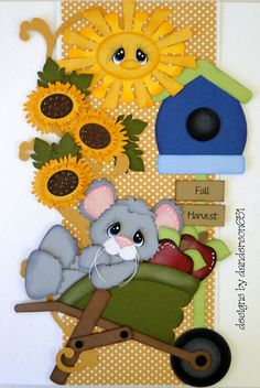 Vertical Border Fall Harvest Boy Girl Paper Piecing PreMade  4 Album Scrapbooks