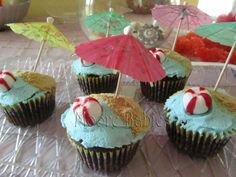menu for luau theme party | and a cupcake closeup