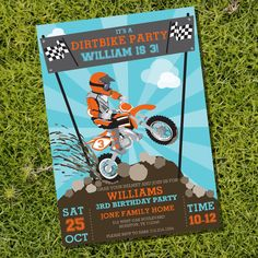 Dirt Bike Party Invitation - Motorbike Party - Motocross Party - Instant Download and Editable File - Personalize with Adobe Reader by SunshineParties on Etsy https://www.etsy.com/listing/211819083/dirt-bike-party-invitation-motorbike