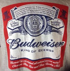 Anheuser Bush T-Shirt XL Mens Budweiser King Of Beers Label Graphic Authentic #AnheuserBush #GraphicTee
