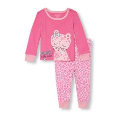 Baby And Toddler Girls Long Sleeve 'Purrfect Little Sister' Graphic Top And Leopard Printed Pants PJ Set