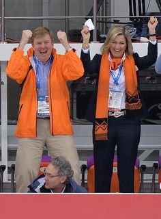 King Willem-Alexander and Queen Maxima cheer on the Dutch athletes during the Winter Olympics in Sochi.