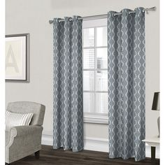 Baroque Textured Grommet Curtain Panel- Light Blue 84-in