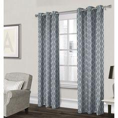 Baroque Textured Grommet Curtain Panel- Light Blue 84-in