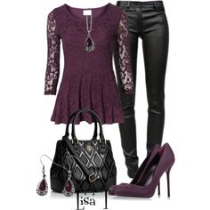 """""""Leather & Lace"""" by lkthompson on Polyvore"""