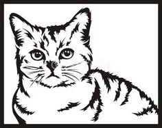 cat black white vector